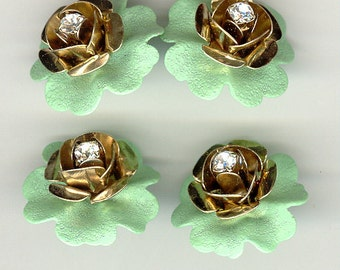 4 Doube Stacked Enameled & Rhinestone Metal Flowers 7/8th Inch