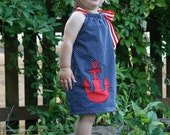 Girls Summer Dress in Navy and White Dot with Red Anchor - Perfect Gift or Kids Birthday Party, Special Occasion and Photo Shoot Outfit