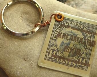 Kalamazoo MI American Indian Cancelled Stamp Key Chain