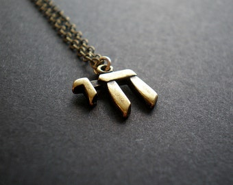 """Chai Necklace - Hebrew Word - Letters """"Life"""" Brass Tone Charm"""