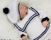 CROCHET PATTERN For Baby Sailor Suit in  3 Sizes 0-9 months PDF 187 Digital Download