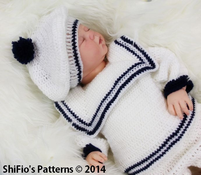 CROCHET PATTERN For Baby Sailor Suit in 3 Sizes 0-9 months