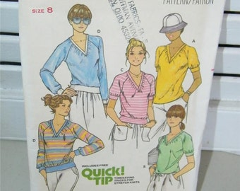 Vintage Knit Top Butterick 6106 Pattern Size 8 8078 UNCUT