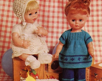 Vintage Doll's Clothing Modern Dolls Set & Baby Doll's Set, Knitting Pattern, 1950 (PDF) Pattern, Copley Lotus 9033