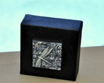 """Black Art, ORIGINAL, FREE Priority Shipping, Gray, Fossil, Acrylic Painting, 4""""X4"""", 4X4, Dragonfly, Miniature Painting, Miniature Art"""