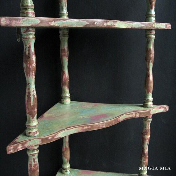 3 tier chalk paint corner wall shelf wooden handpainted rose for Shelf life of paint