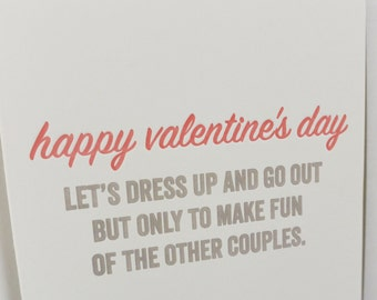Snarky Letterpress Valentine - Mean Couple
