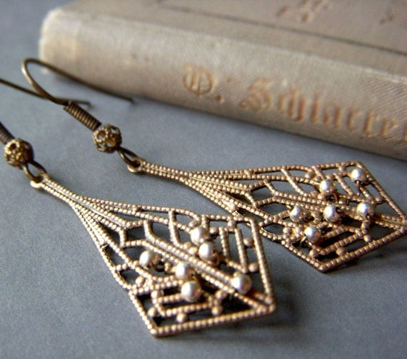 Brass Filigree Earrings Hand Patinaed . Sterling Silver Beaded Lacy Dangle Boho . Lacewing