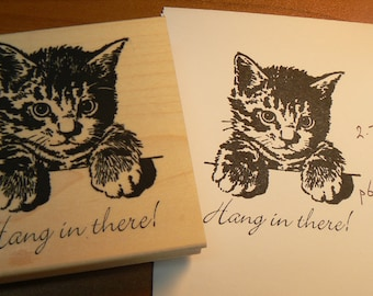 Hang in there kitten rubber stamp P6