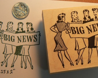 Big News rubber stamp Wood Mounted P34