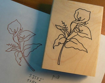calla lily rubber stamp WM P18