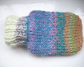 Mini hot water bottle hand knitted knit cozy cover blue purple green multi