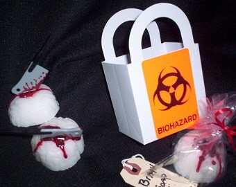 Zombie Brain Soap in a biohazard bag with a bloody toe tag label