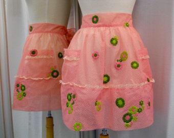 Pink Sheer Polka Dot and Floral Applique Upcycled Hostess Half Apron Size Medium