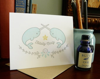 Totally Narly Narwhale Letterpress Note Card 1pc