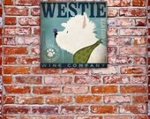 Westie Wine Company dog art west highland terrier original illustration graphic art on gallery wrapped canvas by Stephen Fowler