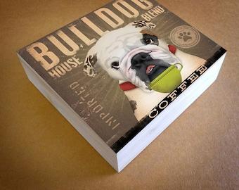 English Bulldog Coffee Company original graphic illustration canvas panel by stephen fowler Pick A Size