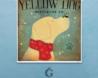 Yellow Dog Mistletoe giclee archival signed artist's print by stephen fowler PIck A Size