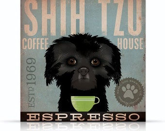 Shih Tzu Coffee Company small dog roast original graphic illustration on gallery wrapped canvas by Stephen Fowler