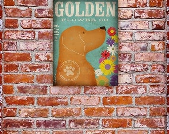 Golden Retriever  dog flower company graphic art on gallery wrapped canvas by Stephen Fowler