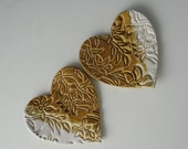 Pair of Heart Tea Bag Holders / Trinket Dishes in Tan and White with Wildflower Design