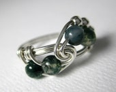 Math Ring Wire Wrapped Ring Green Moss Agate and Sterling Silver Fibonacci Math Jewelry