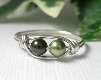 Pea Pod Jewelry New Mothers Ring Wire Wrap Sterling Silver Peapod Ring Swarovski Glass Pearls -- Other Colors Available