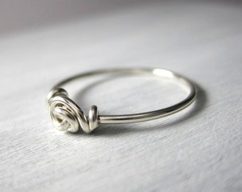 Promise Ring Love Knot Ring Wire Wrapped STERLING SILVER Valentine's Day Forget-Me-Knot Ring