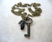 Skeleton Key Necklace, Lapis Lazuli Hematite Stone Necklace, Handmade Artisan Jewelry