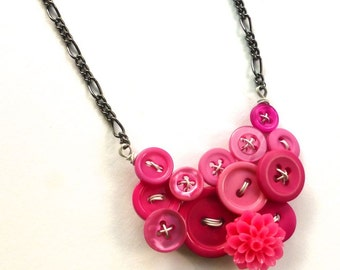 Button Jewelry Necklace Bright Pink Buttons with Flower Cabochon