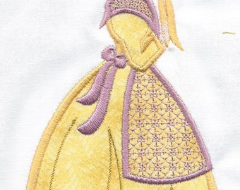Victorian Lady set of 4, YELLOW machine embroidered quilt squares