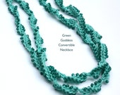 Green Goddess, Beaded Crochet Convertible Necklace, Statement Necklace, Gift for her, Fiber Jewelry, Cotton Necklace, Everyday Jewelry