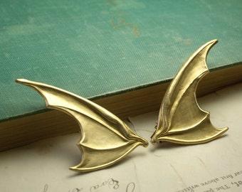 Bat wing barrettes brass or silver retro gothic halloween hair jewelry dragon hair clips fantasy