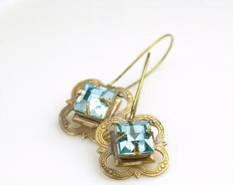 Aqua blue jewel earrings bridal vintage brass victorian crystal glass