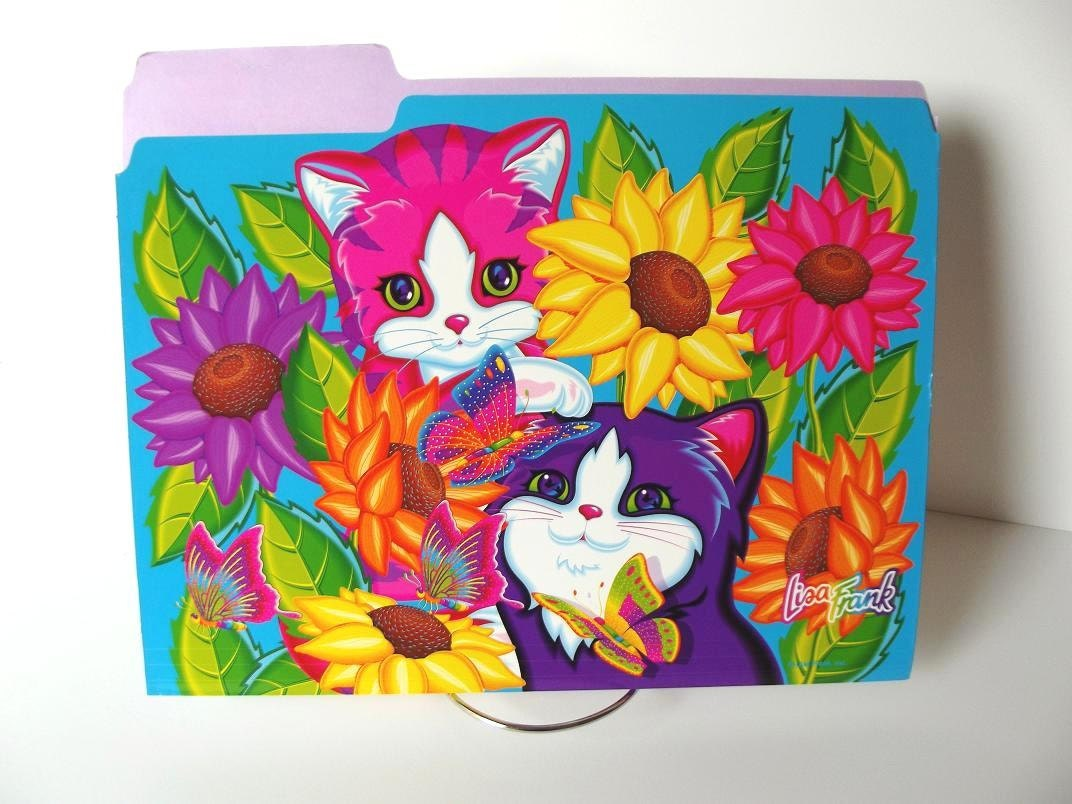 Lisa Frank File Folder Sunflower Kittens By