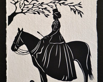 Sale 20% Off // THE EQUESTRIENNE Papercut - Hand-Cut Silhouette // Coupon Code SALE20