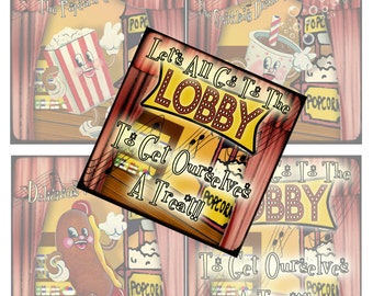 Digital Collage Sheet 4 inch Printable Designs For Theater Room Let's Go To The Lobby Song