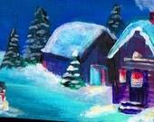 original art acrylic painting aceo Winter village Christmas scene snowman