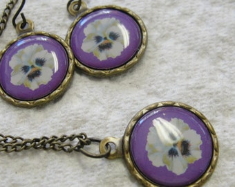 Pansy Necklace and Pierced Earrings Set