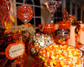 Candy Buffet Tags - Orange and Brown - Custom Tags - Personalized