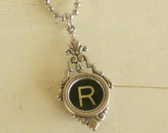 Typewriter Key Necklace, Vintage, Initial Jewelry,  All Letters Available, Typography Jewelry, Victorian