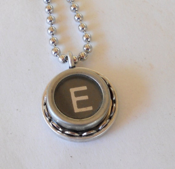 recycled jewelry initial necklace typewriter key by