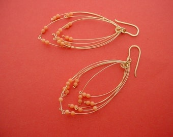 Peach Coral & Gold Fireworks Earrings