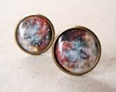 Galaxy Stud Earrings,Galaxy Earrings,Astronomy Jewelry,Nebula Earring Posts,Space Jewelry,Universe Ear Posts,Rustic Brown Beige (E032)