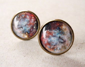 Galaxy Stud Earrings,Galaxy Earrings,Astronomy Jewelry,Nebula Earring Posts,Space Jewelry,Universe Ear Posts,Rustic Brown Beige (E032)