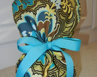 Turn Up Ponytail Scrub Hat in Gothic Rose Turquoise