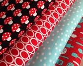 Kitschy Kitchen Quilt or Craft Fabric bundle by Robert Kaufman Fabrics- 1/2 Yard Bundle- 4 total