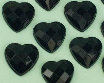 6 Vintage Black Heart Faceted Lucite Cabochon 14mm