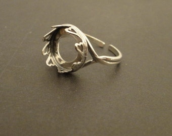 RING - HEART design - 12mm - .925 Sterling Silver - adjustable from size 7 to 9.5 - with 2 Sterling Silver disks