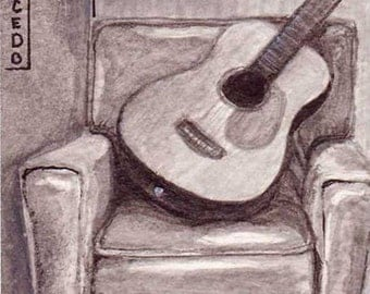 ACEO Print Guitar on Chair II Gouache black and white by RSalcedo Tiny Art